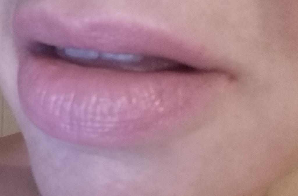 AERIN Rose Lip Balm - swatch on lips - natural light