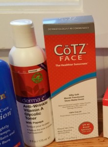 derma e Anti-Wrinkle Vitamin A Glycolic Toner and Cotz Face Cream SPF 40