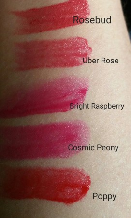 Swatches of Bobbi Brown Nourishing Lip Color - Rosebud, Uber Rose, Bright Raspberry, Cosmic Peony, and Poppy
