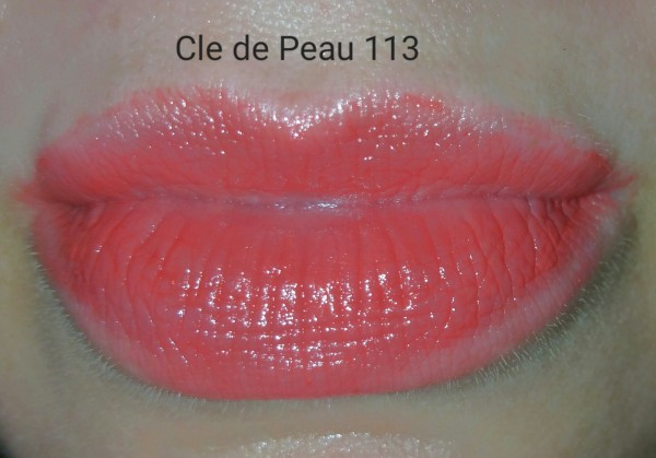 Cle de Peau Beaute Extra Rich Lipstick #113 - swatched on lips - with flash