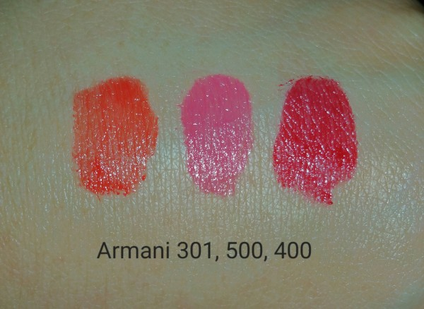 Giorgio Armani Rouge Ecstasy Lipstick Sampler - Colors: Gio No. 301, Eccentrico No. 500, and Four Hundred No. 400 - swatched on hand