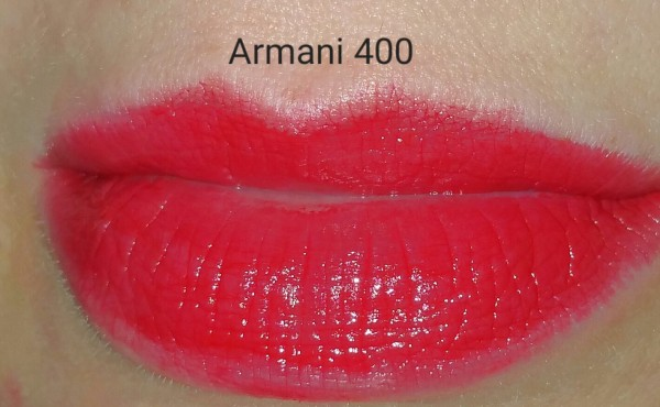 Giorgio Armani Rouge Ecstasy Lipstick - Four Hundred No. 400 - swatched on lips with flash