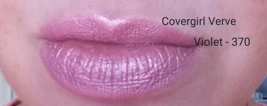 Covergirl Colorlicious Lipstick in Verve Violet - 370, swatched on lips - natural light
