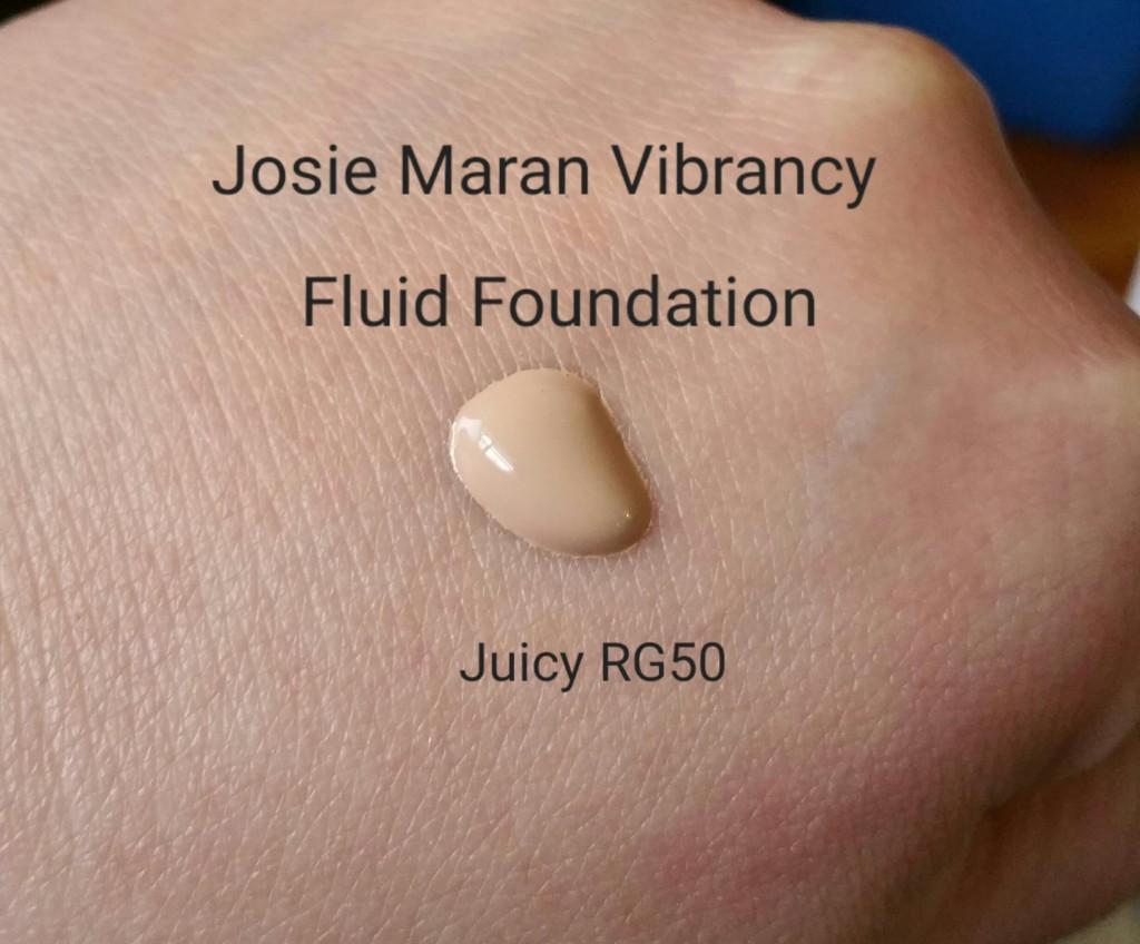 Josie Maran Vibrancy Argan Oil Foundation Fluid - Juicy RG50 - swatched on hand