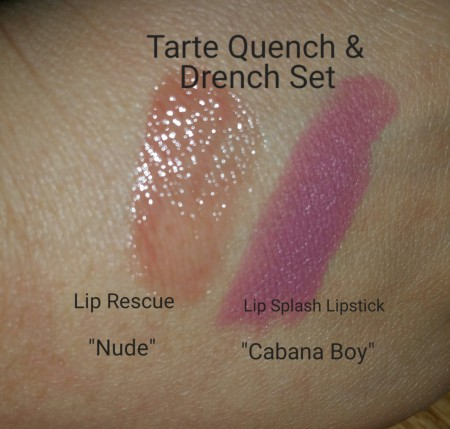 Tarte Rainforest of the Sea™ Drench Lip Splash Lipstick & Quench Lip Rescue - swatches on hand - with flash