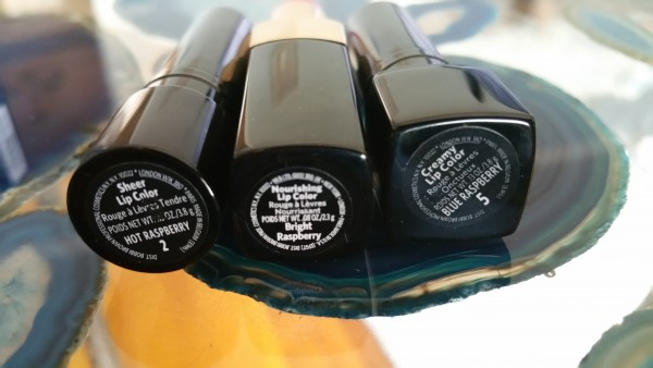 Bobbi Brown Lipsticks: Sheer Lip Color, Hot Raspberry- 02; Nourishing Lip Color, Bright Raspberry; and Creamy Lip Color, Blue Raspberry- 05