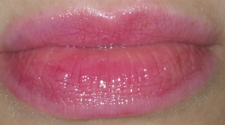 Milk Makeup Oil Lip Stain - Tude swatched on lips with flash