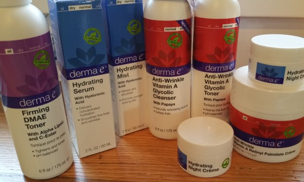 Derma e products from the DMAE, Hyaluronic, and Vitamin A/ Retinol lines