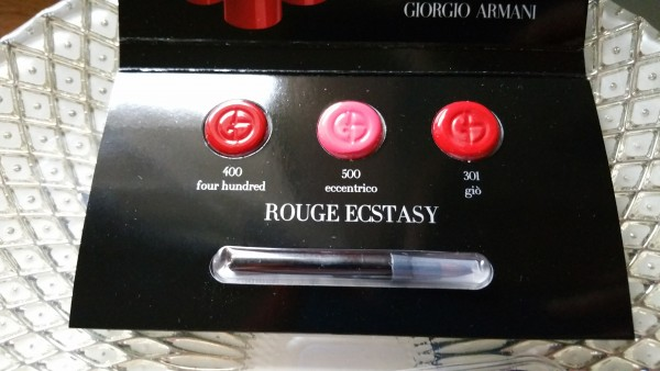 Giorgio Armani Rouge Ecstasy Lipstick Sampler - Colors: Gio No. 301, Eccentrico No. 500, and Four Hundred No. 400