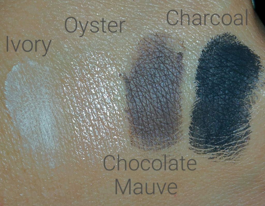 Bobbi Brown Eye Shadow Quad from the Define and Glow Set - Ivory, Oyster, Chocolate Mauve, and Charcoal - swatches