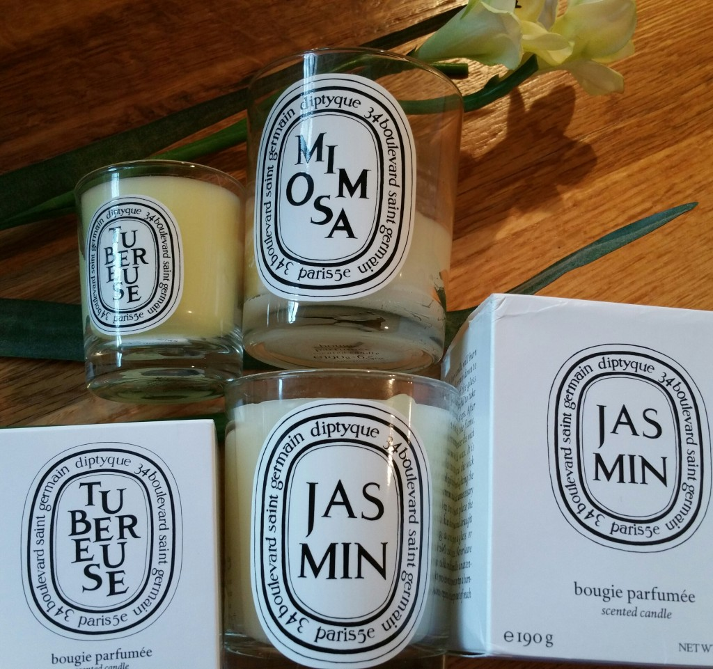 Diptyque Mimosa, Jasmin, and Tuberose candles