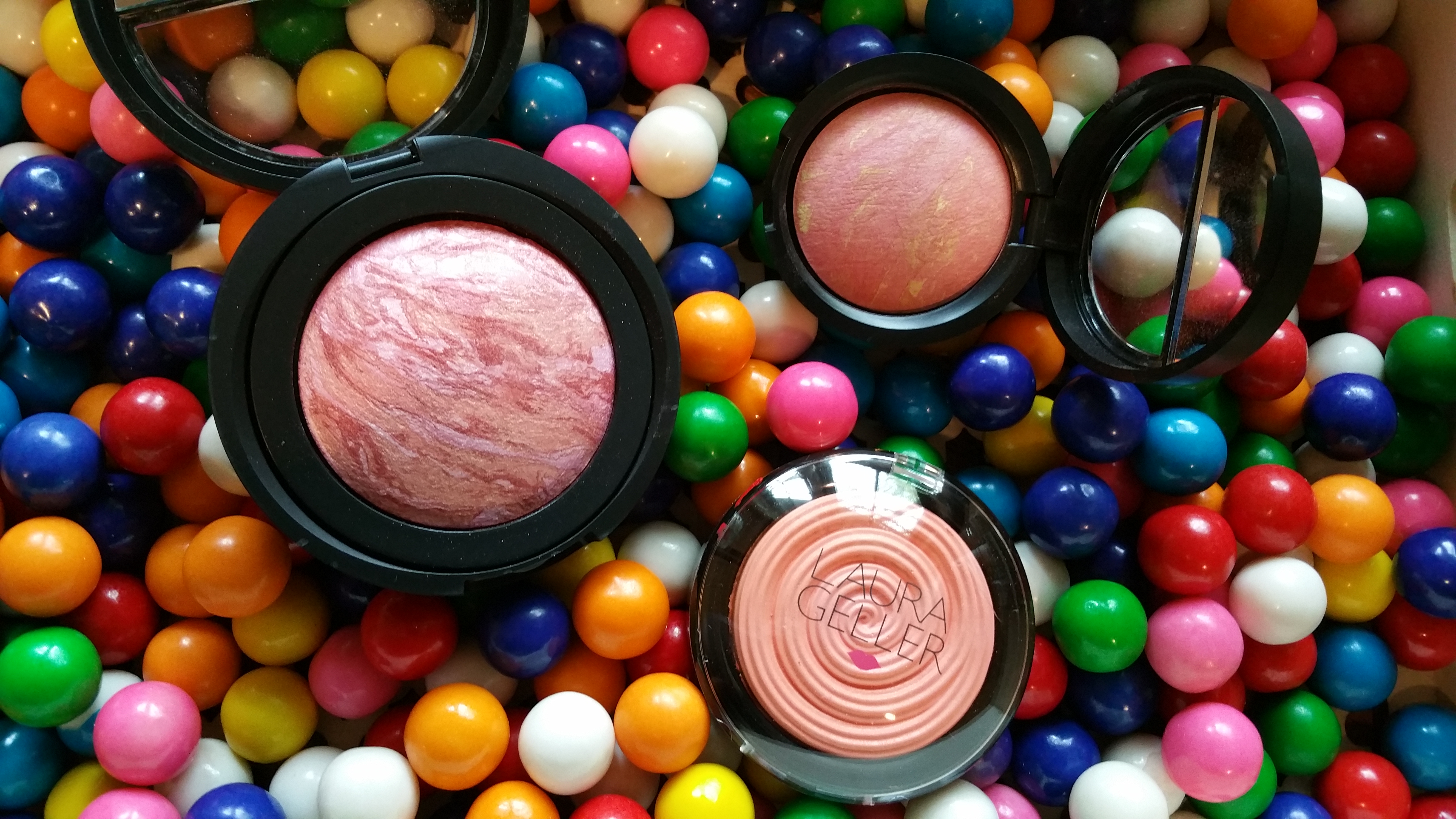 Clockwise from top left: Laura Geller Blush-N-Brighten in Tropic Hues, and Dreamsicle, and Baked Gelato Vivid Swirl Blush in Cantaloupe