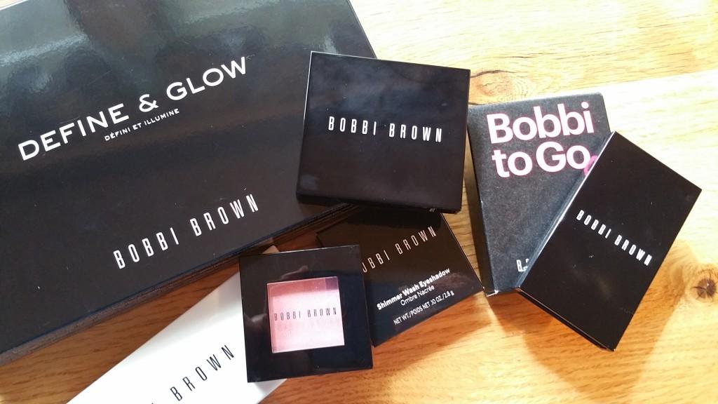 Bobbi Brown Define & Glow set, Pink Chiffon Shimmer Wash Eye Shadow, and Bobbi to Go Classic Shadow Palette