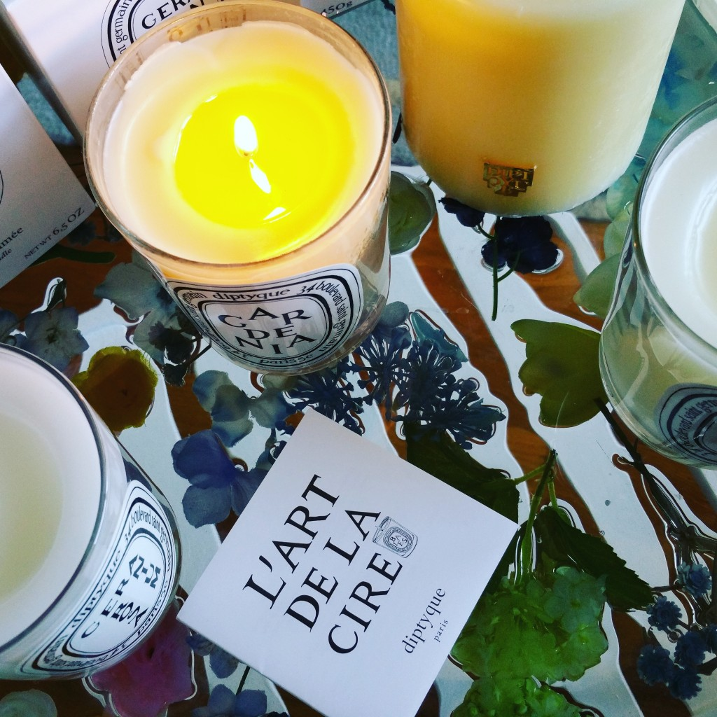 Diptyque florals: Les Lilas, Geranium Rosa, Gardenia, and Freesia Candles