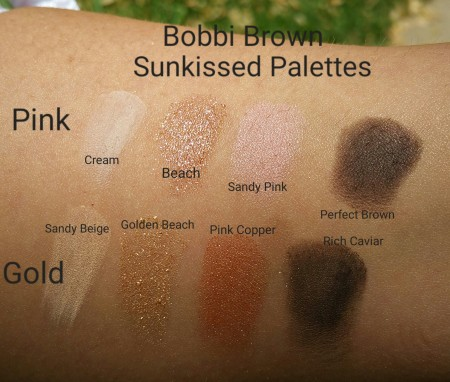 Bobbi Brown Sunkissed Eye Shadow Palettes in Pink and Gold, swatched