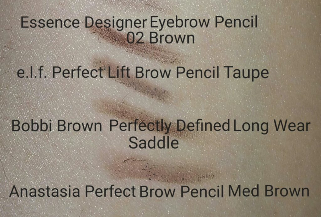 Top to bottom: swatches of Essence, e.l.f., Bobbi Brown, and Anastasia brow pencils
