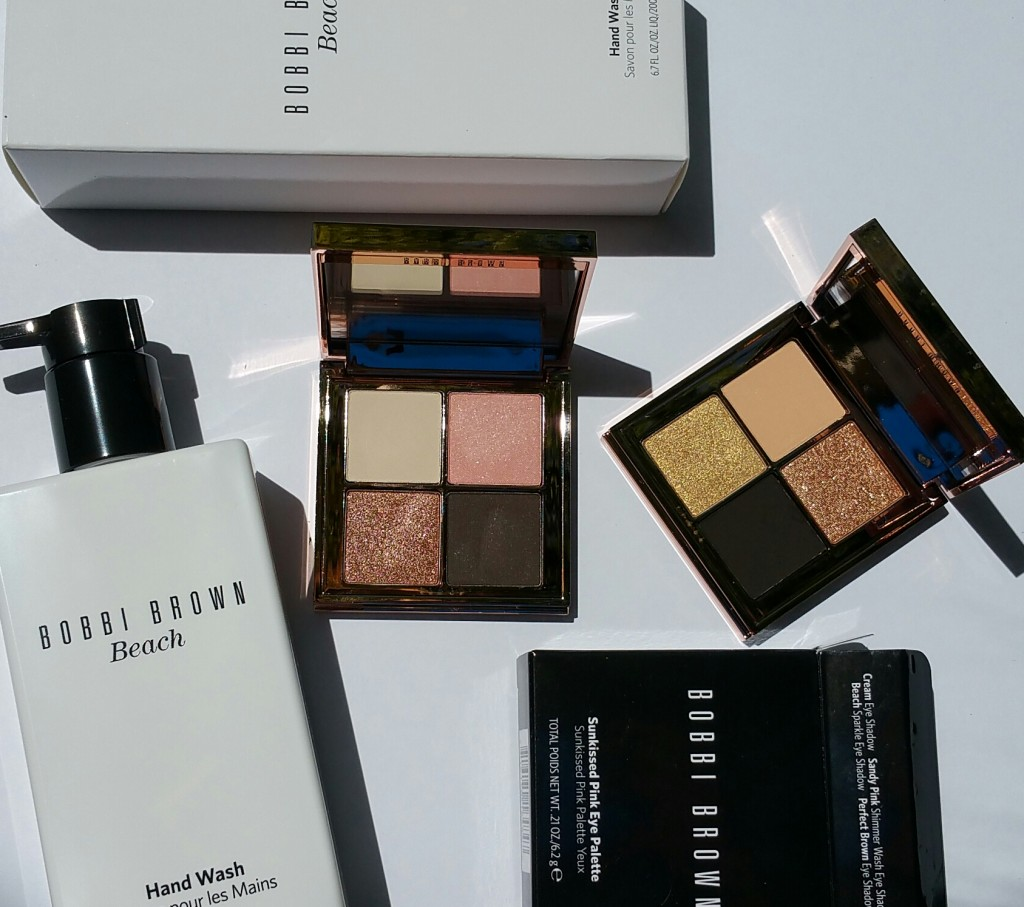 Bobbi Brown Beach Hand Wash and Bobbi Brown Sunkissed Eye Shadow Palettes Pink (left) and Gold (right)