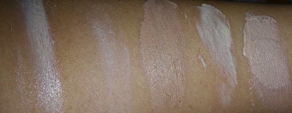Left to right: with flash, blended swatches of: Andalou 1000 Roses Color + Correct - Sheer Nude - SPF 30, Coola Mineral Face Sunscreen Matte Tint SPF 30, Cotz Natural Face SPF 40, Cotz Flawless Complexion SPF 50, Dermalogica Skinperfect SPF 30