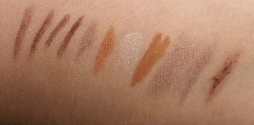 Left to right: Anastasia, Bobbi Brown, e.l.f., Essence, Laura Geller palette colors 1, and 2, Laura Geller palette highlighter, Laura Geller palette wax, Sephora Tinted Brow Freeze, Sephora Retractable Brow Pencil, and Ulta pencil.
